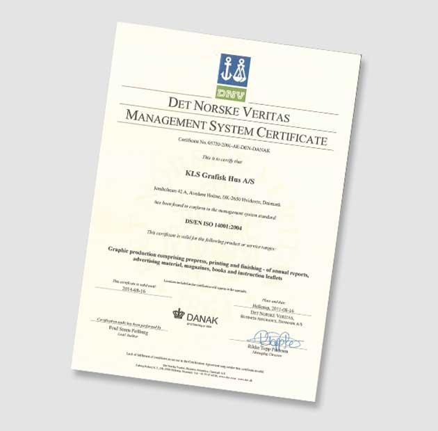 Vores ISO 14001 miljøstyringscertifikatet